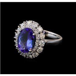 3.16 ctw Tanzanite and Diamond Ring - 14KT White Gold