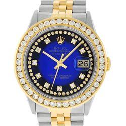 Rolex Mens 2 Tone Blue Vignette String VS 3 ctw Channel Set Diamond Datejust Wri