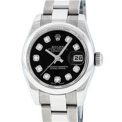 Rolex Ladies Stainless Steel Black Diamond Quickset Datejust Wristwatch With Rol