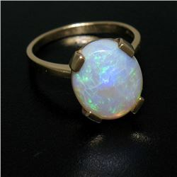 14K Solid Yellow Gold 3.00 ctw Oval Cabochon Opal Solitaire Ring