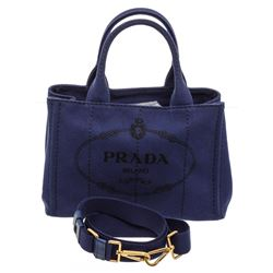 Prada Dark Blue Canvas Small Canapa Tote Bag