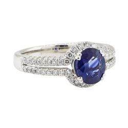 1.91 ctw Blue Sapphire and Diamond Ring - 18KT White Gold