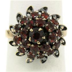 14k Yellow Gold 2.52 ctw Old Round Cut Garnet Tiered Sunburst Cluster Ring