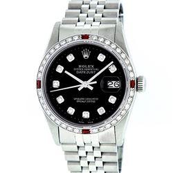 Rolex Mens Stainless Steel Black Diamond & Ruby 36MM Datejust Wristwatch