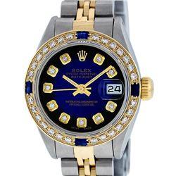 Rolex Ladies 2 Tone Blue Vignette Diamond & Sapphire Datejust Wristwatch