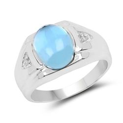 3.67 Carat Genuine Swiss Blue Topaz and White Topaz .925 Sterling Silver Ring (size 8)