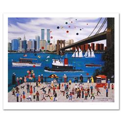 """Beneath The Brooklyn Bridge"" Limited Edition Lithograph by Jane Wooster Scott, Numbered and Hand Si"
