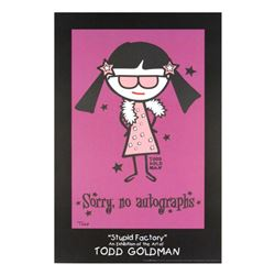 """Sorry, No Autographs"" Fine Art Litho Poster Hand Signed by Renowned Pop Artist Todd Goldman."