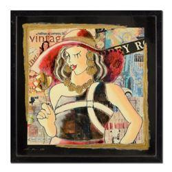 "Oz El Hai, ""Red Hat, Vintage Series"" Framed Original Mixed Media Painting on Board; Hand Signed; Cer"