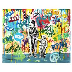"Nastya Rovenskaya- Mixed Media ""Wanna be like Chaplin"""