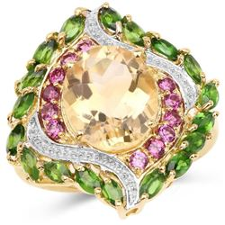 14K Yellow Gold Plated 6.11 Carat Genuine Citrine, Rhodolite & Chrome Diopside .925 Sterling Silver