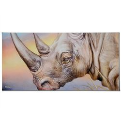"""White Rhino"" Limited Edition Giclee on Canvas by Martin Katon, Numbered and Hand Signed with COA. T"