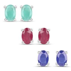 2.96 Carat Emerald, Glass Filled Ruby and Glass Filled Sapphire .925 Sterling Silver Earrings