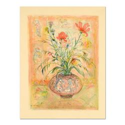"""Edna Hibel (1917-2014), """"Thistle Rose and a Day Lily"""" Limited Edition Lithograph, Numbered and Hand"""
