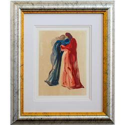 "Salvador Dali- Original Color Woodcut on B.F.K. Rives Paper ""Purgatory Canto 29"""