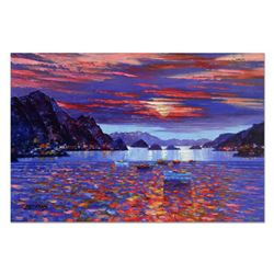 """Howard Behrens (1933-2014), """"Amalfi Sunset"""" Hand Embellished Limited Edition on Textured Board, Numb"""