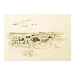 "Wayne Ensrud ""Burgundian Village of Vosne-Romanee, Burgundy"" Pencil Original Artwork; Hand Signed; C"