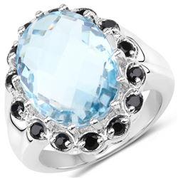 12.49 Carat Genuine Blue Topaz & Black Spinel .925 Sterling Silver Ring (size 9)