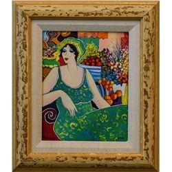 "Patricia Govezensky- Original Giclee on Canvas ""Lady in Green"""