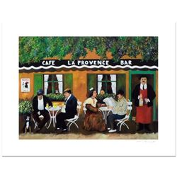 """Guy Buffet, """"Cafe La Provence"""" Limited Edition Serigraph; Numbered and Hand Signed with Certificate"""