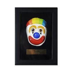 "George Marlowe ""Tommy the Clown"" Framed Original Hand Made Ceramic Mask Sculpture; COA"
