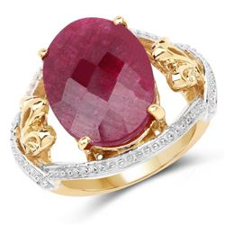 14K Yellow Gold Plated 12.15 Carat Dyed Ruby .925 Sterling Silver Ring (size 7)