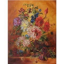 "Alexander Borewko- Original Oil on Canvas ""Bouquet of Flowers"""