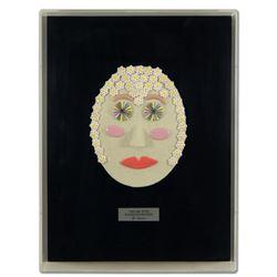 "George Marlowe ""The Girl with Kaleidoscope Eyes"" Framed Original Hand Made Ceramic Mask Sculpture; C"