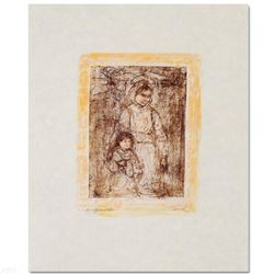 """""""Michelle and Nana"""" Limited Edition Lithograph by Edna Hibel (1917-2014), Numbered and Hand Signed w"""