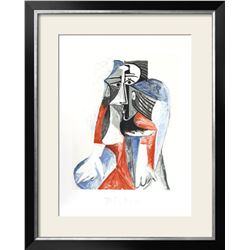 """Pablo Picasso """"Femme Assise"""" Custom Framed Lithograph"""