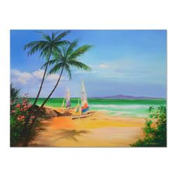 """H. Leung, """"Summer Sands"""" Hand Embellished Limited Edition on Canvas, Numbered 2/100 and Hand Signed"""