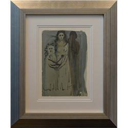 "Salvador Dali- Original Color Woodcut on B.F.K. Rives Paper ""Purgatory Canto 16"""
