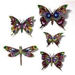"Patricia Govezensky- Original Painting on Cutout Steel (Set of 5) ""Set of 5 Butterflies"""