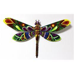 "Patricia Govezensky- Original Painting on Cutout Steel ""Dragonfly VI"""