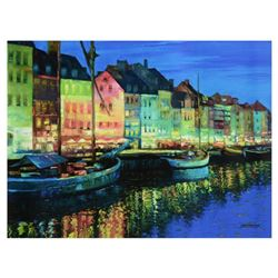 """Howard Behrens (1933-2014), """"As Night Falls, Copenhagen"""" Limited Edition on Canvas, Numbered and Sig"""