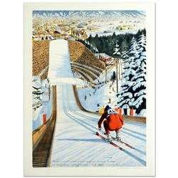 """William Nelson, """"90-Meter Ski Jump"""" Limited Edition Serigraph, Numbered and Hand Signed by the Artis"""