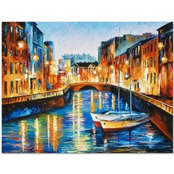 """Leonid Afremov """"Evening River"""" Limited Edition Giclee on Canvas, Numbered and Signed; Certificate of"""