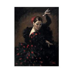 """Fabian Perez, """"Pasion Flamenca"""" Hand Textured Limited Edition Giclee on Board. Hand Signed and Numbe"""