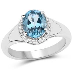 2.13 Carat Genuine London Blue Topaz and White Topaz .925 Sterling Silver Ring (size 8)