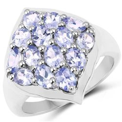 2.38 Carat Genuine Tanzanite .925 Sterling Silver Ring (size 8)