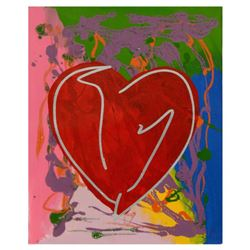 "Steve Kaufman (1960-2010), ""Heart"" Hand Painted Limited Edition Silkscreen on Canvas, Numbered 42/40"