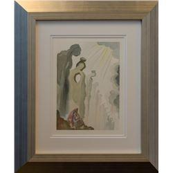 "Salvador Dali- Original Color Woodcut on B.F.K. Rives Paper ""Purgatory Canto 13"""