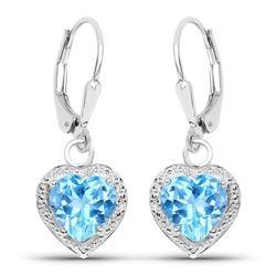 4.20 Carat Genuine Swiss Blue Topaz .925 Sterling Silver Earrings
