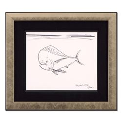 """Wyland, """"Tropical Fish"""" Framed Original Sketch, Hand Signed with Certificate of Authenticity."""
