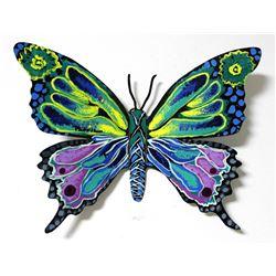 "Patricia Govezensky- Original Painting on Cutout Steel ""Butterfly CLXXXI"""