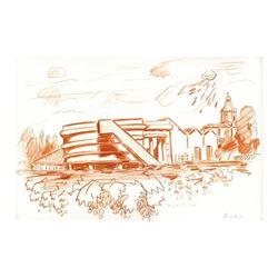 "Wayne Ensrud ""Chateau Prieure-Lichine (Cellar Building)"" Pastel Original Artwork; Hand Signed; COA"