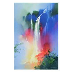 """Thomas Leung, """"Tranquil Falls"""" Limited Edition on Canvas, Numbered and Hand Signed with Letter of Au"""