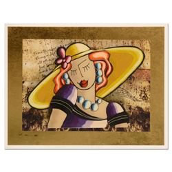"""Oz El Hai, """"Yellow Hat, Vintage Series"""" Original 3D Mixed Media Painting on Board, Hand Signed with"""