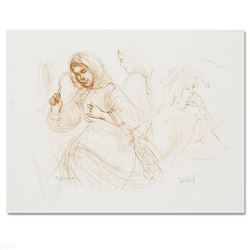 """""""Three Women in the Fields"""" Limited Edition Lithograph by Edna Hibel (1917-2014), Numbered and Hand"""