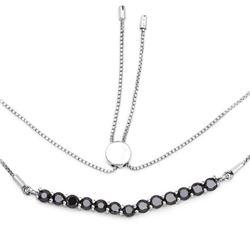2.28 Carat Genuine Black Diamond .925 Sterling Silver Necklace